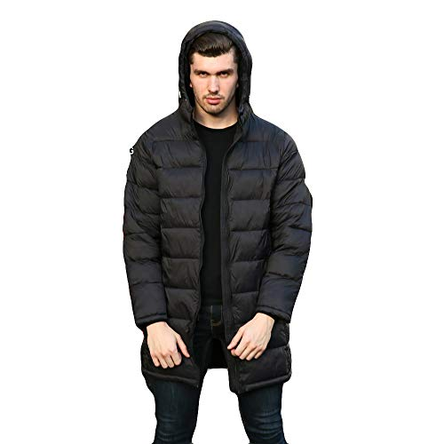 Men's Lightweight Water-Resistant Packable Hooded Down Jacket Autumn Winter Light Weight Long Coat (Black, L)