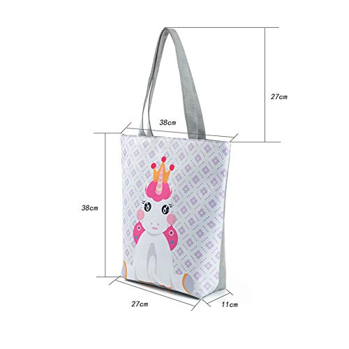 Tygväska söt enhörning tryckt kvinnlig axelväska damer sommar strand handväska kvinnor stor kapacitet kanvas tecknad shoppingväska