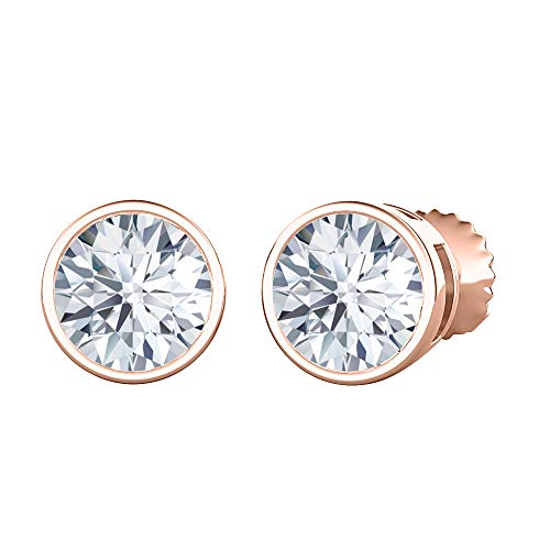 Bezel Set Round Cut Created White Diamond (3MM) Solitaire Stud Earrings 14K Rose Gold Over .925 Sterling Silver For Women's
