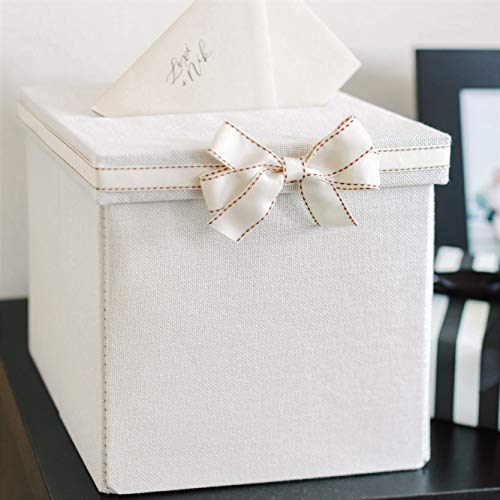 FLUYTCO Wedding Card Envelope Box - Thick Linen Fabric & Removable Ribbon Bow - Collapsible - Perfect for Weddings, Baby Showers, Birthdays, Graduations - Large Size, 100+ -
