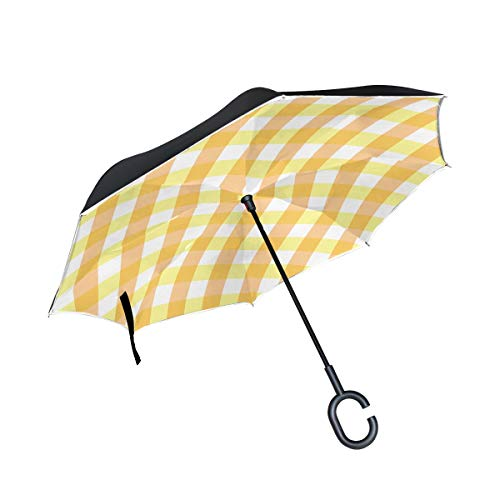 RYUIFI Double Layer Inverted Scrapbook Scrapbooking Checks Gingham Paper Umbrellas Reverse Folding Umbrella Windproof Uv Protection Big Straight Umbrella for Car Rain Outdoor with C-Shaped Handle