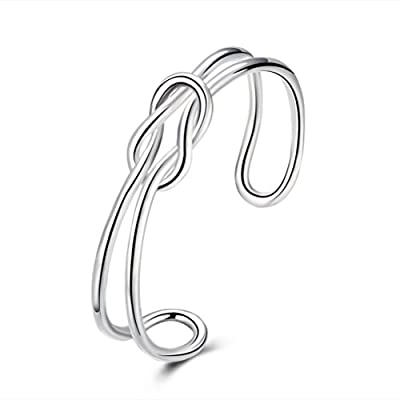 SunIfSnow Women Fashion and Personality Open Adjustable Silver Plated Bracelet
