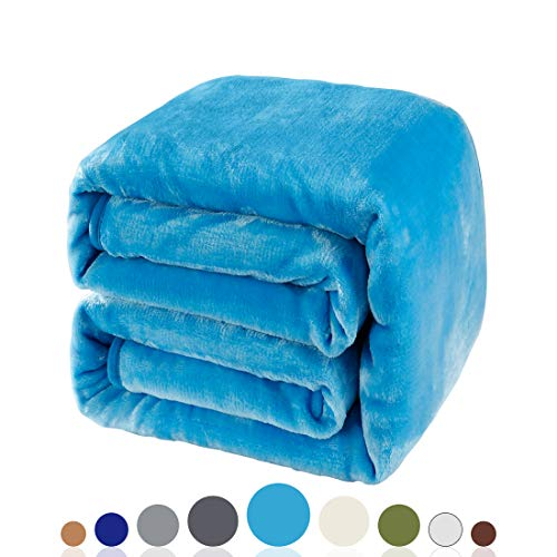 Balichun Luxury 330 GSM Fleece Blanket Super Soft Warm Fuzzy Lightweight Bed or Couch Blanket Twin/Queen/King Size(Queen,Lake Blue)