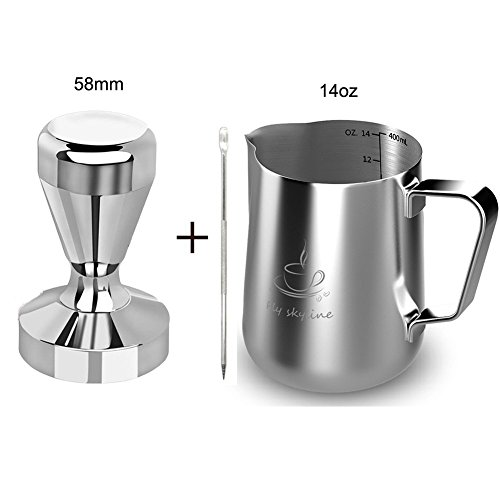 Milk Frothing Pitcher Stainless Steel Measurement Inside the frothing Cup with Latt Art Pen (14oz+58Tamper) -