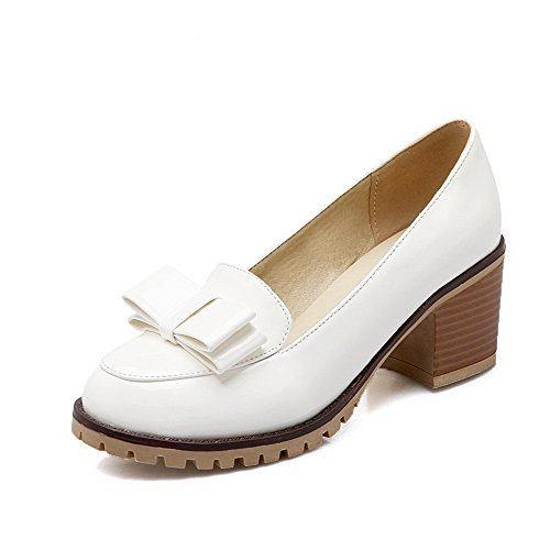 VogueZone009 Women's Pull-On PU Closed Round Toe Kitten-Heels Solid Pumps-Shoes White X9Ilno