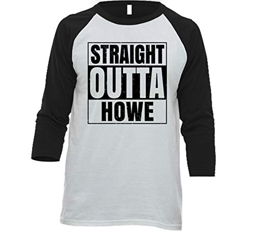Straight Outta Howe Texas City Grunge Parody Baseball Raglan Shirt S White/Black