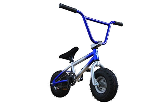 R4 Pro Complete Mini BMX Stunt Bicycle, Custom Blue And Silver