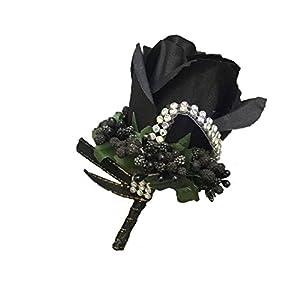 WeddingBobDIY 2Pieces/lot Groom Boutonniere Buttonholes Groomsman Silk Artificial Rose Wedding Flowers Brooch Pin Accessories Prom Suit Decoration (Black) 61