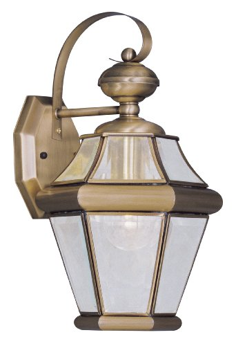 Livex Lighting 2161-01 Georgetown 1-Light Outdoor Wall Lantern, Antique Brass