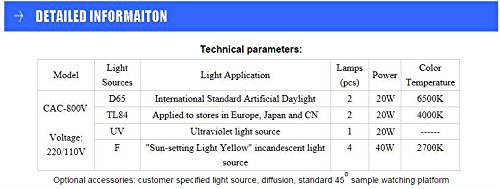 Europe standard Color Matching Cabinet light sources: D65 TL84 UV F Size:714257cm Customizable Color Assessment