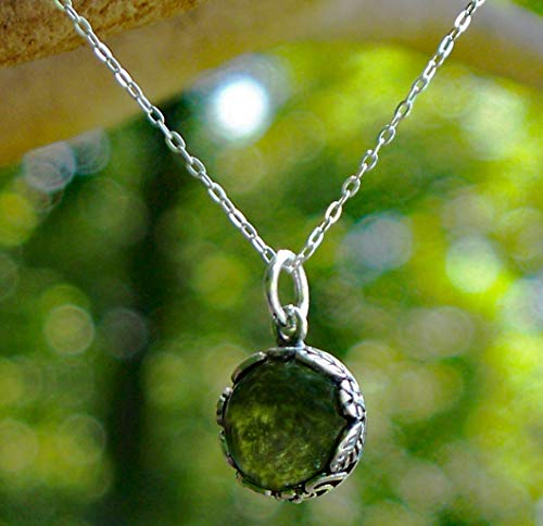 Recycled Vintage Olive Green Wine Bottle Glass and Sterling Silver Botanical Collection Necklace
