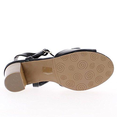 Negro sandalias grande barnizada con tacón de 7,5 cm