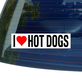 - Graphics and More I Love Heart HOT Dogs - Window Bumper Sticker