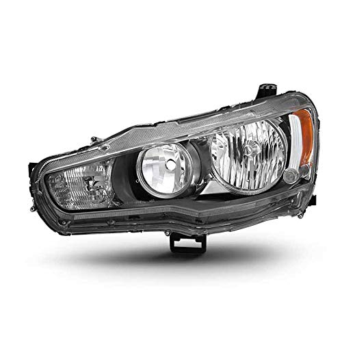 (2008-2016 Lancer/EVO X Black Headlight Direct Fit Driver Side LH L ONLY 2009 2010 2011 2012 2013 2014 2015)