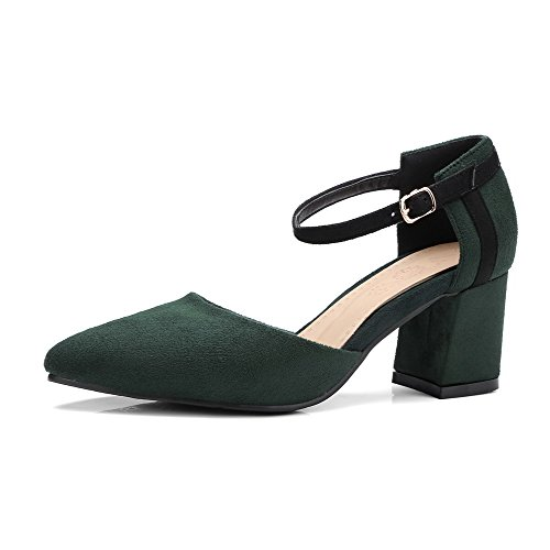 Heels Shoes Odomolor Women's Green 40 Buckle Frosted Kitten Pointed Pumps Army Toe Solid 1nEnqz