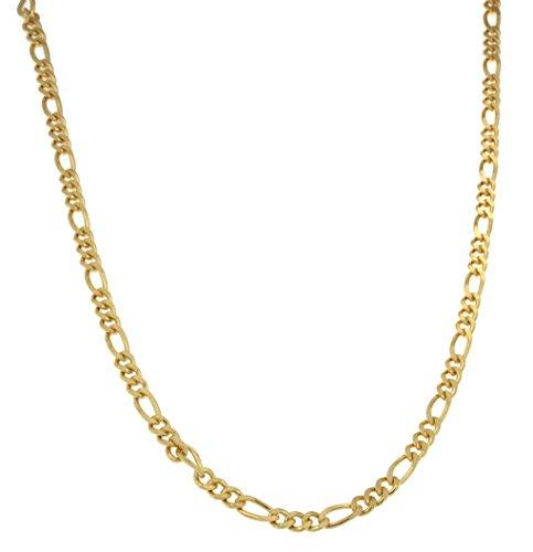 Chaine Figaro 925 Argent plaqué or, 4,5mm , Longueur au choix, femme homme collier bijoux cadeaux de italien usine tendenze