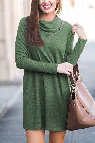 with Green Cowl Tunic Dress Neck Shirt Long T Sleeve Dark Women's Casual Halife Pockets wvqYxaqO