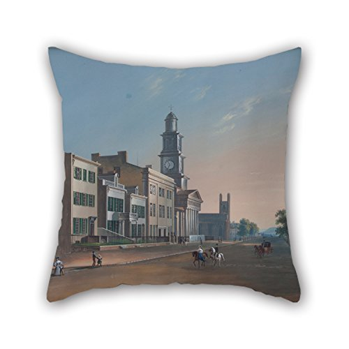 West Side Lounger (Loveloveu Pillowcover Of Oil Painting John Caspar Wild - Fourth Street - West From Vine 18 X 18 Inches / 45 By 45 Cm,best Fit For Play Room,bedroom,couch,sofa,girls,dance Room Twin Sides)
