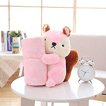 459c3c8afd XuBa GD Baby Store Super Soft Coral Fleece Plush Squirrel Shape Baby  Rolling air condictioning Blanket Children nap time School Gift Pink   Amazon.in  Home   ...