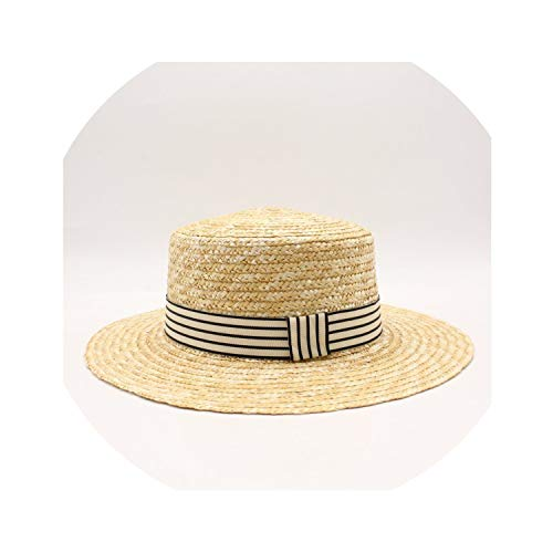 serveyou Women Natural Wheat Straw Hat Ribbon Tie 10cm Brim Boater Hat,1
