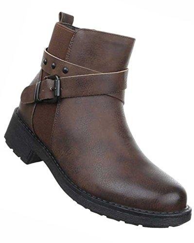 Damen Boots Schuhe Stiefeletten In Used Optik Schwarz Grau Braun 36 37 38 39 40 41 Braun