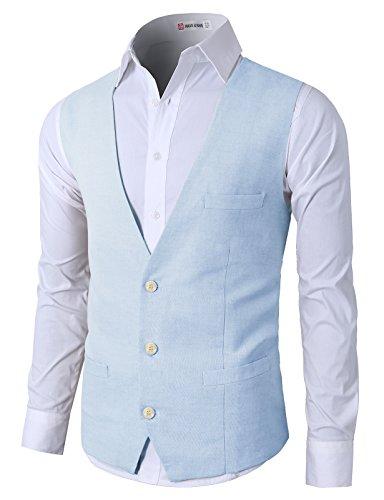 (H2H Mens Summer Casual Slim Fit Stylish Suit Solid 3 Button Linen Vest LIGHTSKY US 2XL/Asia 3XL (CMOV039))