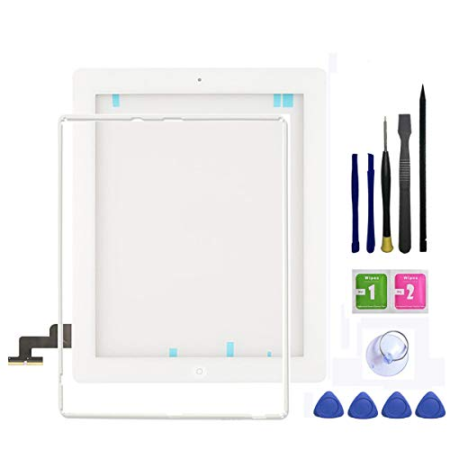 IPad 2 Screen Replacement,FeiyueTech White ipad 2 Digitizer Touch Screen Front Glass Assembly - Includes Home Button + Camera Holder +Frame Bezel+ PreInstalled Adhesive Tools kit (White)