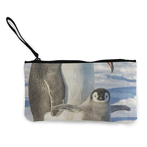 Coin Purse Pouch Makeup Bags Zipper Emperor Penguin Wing Ice Waterproof Storage Tote Tools Canvas Cosmetic Bag