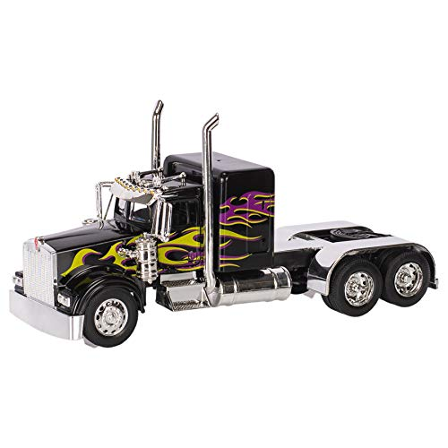 Peterbilt 389/Kenworth W900 Semi Truck Die Cast Toy - 1:32 Scale, Black with Purple and Yellow Flames