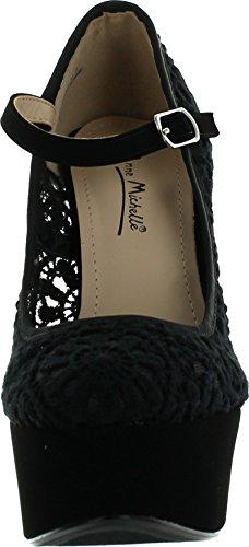 Jjf Chaussures Anne Michelle Realove-07 Femmes Crochet Mary Jane Pompes À Plateforme Noir
