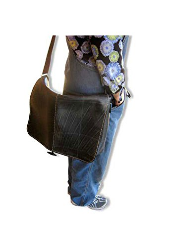 Extra Large Recycled Rubber Tire Flap Purse  Messenger Or Computer Bag