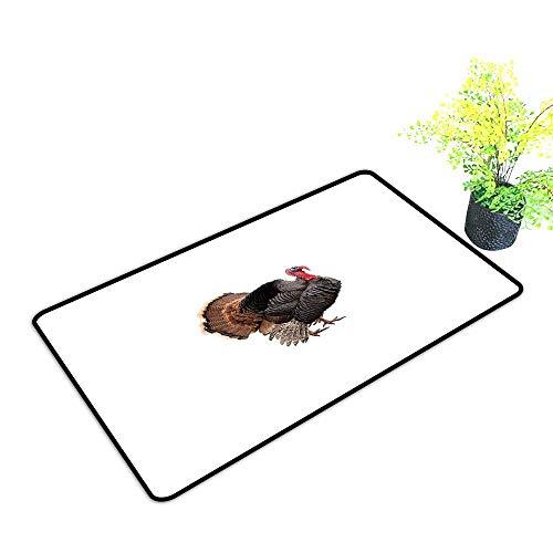 Non-Slip Door mat Turkey Realistic Bird Picture Thanksgiving Day Family Dinner Theme Farm Animal Photo W20 xL31 Durable Black Brown Coral -