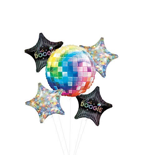 Dance Fever 70's Disco Party Supplies Let's Boogie Balloon Bouquet Decorations with Holographic Stars]()