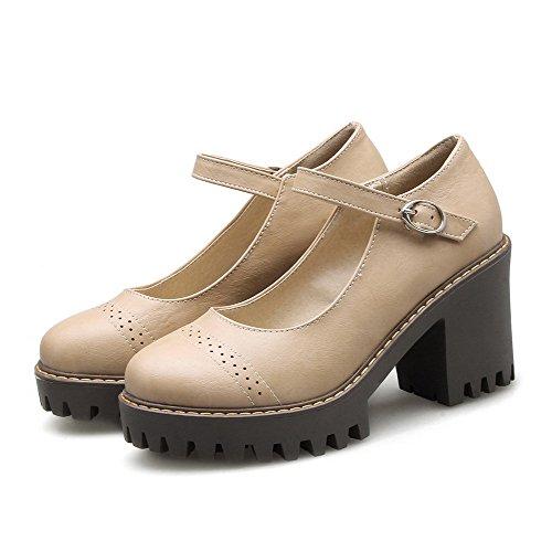 Venta caliente 2018 VogueZone009 Mujeres Hebilla PU Puntera Redonda Tacón  Alto Sólido Zapatos ... 1f4304546ac6