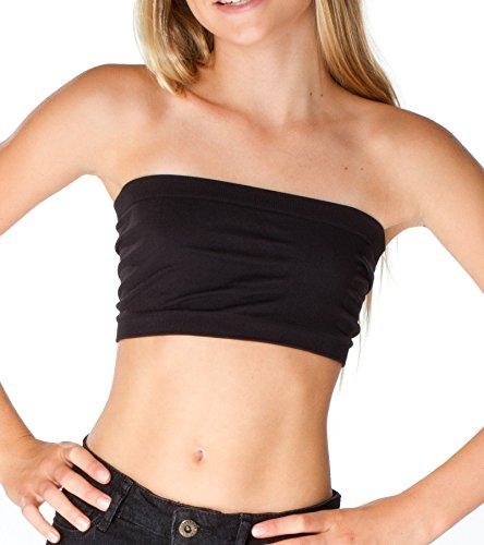 Top Malibu Bra - Malibu Sugar Girls (7-10) Solid Bandeau Top One Size Black