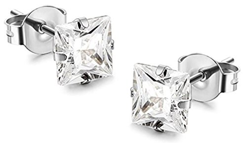 Surgical Stainless Steel Studs Earrings For Men Women boys Girls with Princess Cut Square CZ Cubic Zirconia Hypoallergenic Earrings (7X7 Princess Cut - With Surgical Earing Steel Posts