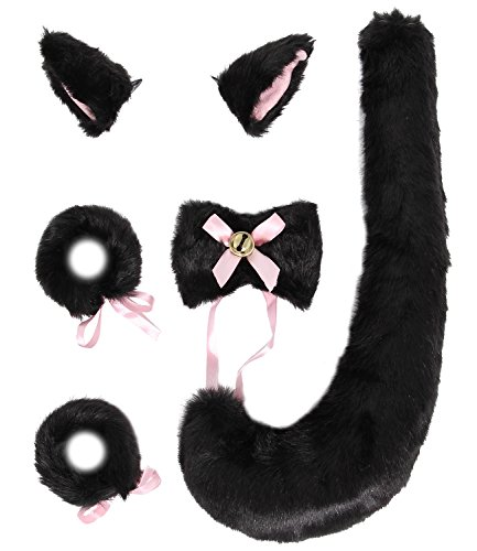 JustinCostume Fox Cosplay Set Tail Ears Neckwear Bracelet, Black