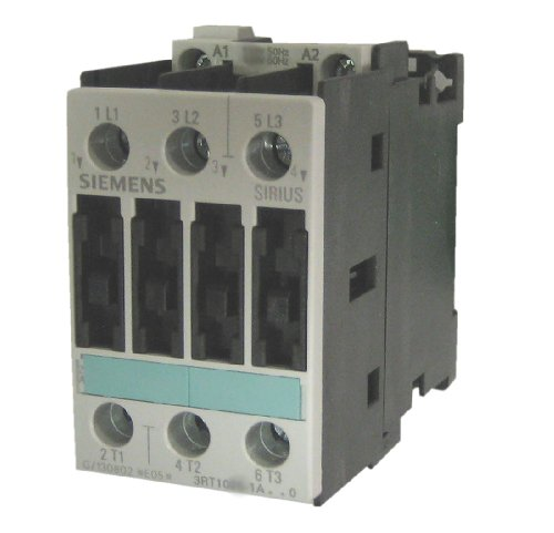 Siemens 3RT10 25-1AP60 Motor Contactor, 3 Poles, Screw Terminals, S0 Frame Size, 240V at 60Hz and 220V at 50Hz AC Coil Voltage Voltage