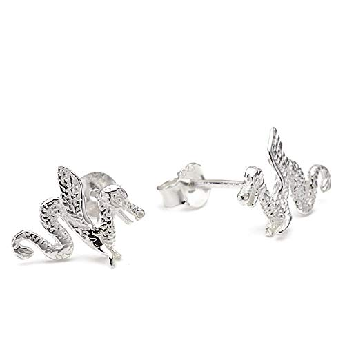 - sense925 Sterling Silver Stud Earrings Dragon Height 1.3 cm Wide 0.8 cm