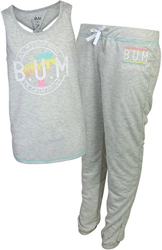 Girls Drawstring Waist Terry Cloth - B.U.M. Equipment Girl's 2-Piece French Terry Jogger Sweatpant Pajama Set, Heather Grey, Small/6-6X'