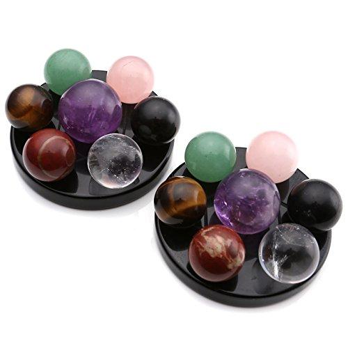 Jsdde 7 Chakra Gemstone Ball Sphere Set On Black Obsidian