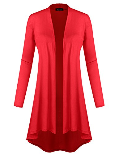 BH B.I.L.Y USA Women's Open Front Lightweight Jersey Classic Long Sleeve Cardigan Red Medium