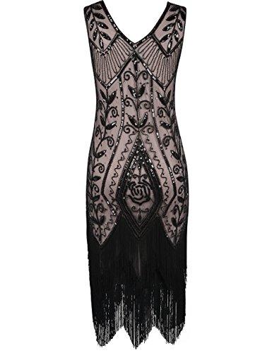 Les Femmes Prettyguide Années 1920 Inspiré Art Déco Sequin Robe Garçonne Cocktail Beige Noir Frangé