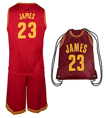 James Red Lebron Kids Basketball Jersey Shorts Set Youth Sizes Premium Quality Gift Set with Backpack (YM (8-10 Years), ()