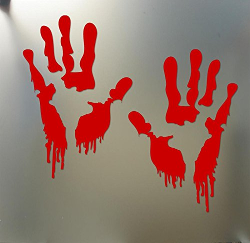 Bloody Zombie Hand Print Sticker Walking Dead Halloween Funny car Window Decal, Die Cut Vinyl Decal for Windows, Cars, Trucks, Tool Boxes, laptops, MacBook - virtually Any Hard, Smooth Surface -