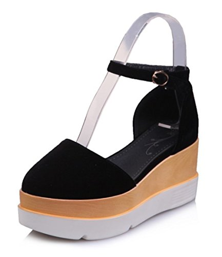 Aisun Damen Durchgängig Plateau Geschlossen Keilabsatz Knöchelriemchen Sandale Schwarz