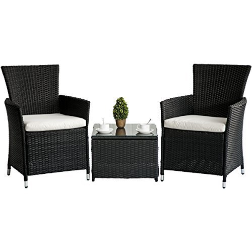 Merax 3-piece Patio Rattan Furniture Set with Cushions Outdoor Wicker Garden Lawn Chair with a Tea Table (Black) (Bistro Garden Chairs)