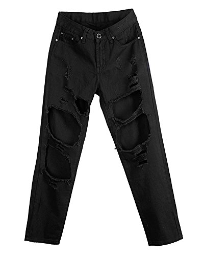 Casual Lunghezza Denim Nero Jeans Sciolto Donna Pantaloni dwFqBd4