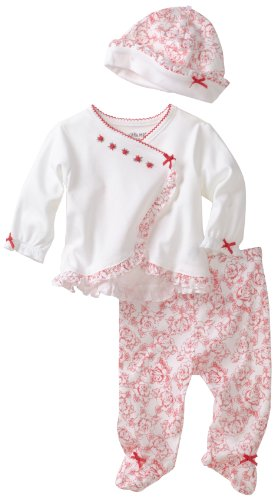 Little Me Baby-Girls Newborn Rouge Rose 2 Peice TMH Pant And Hat Set
