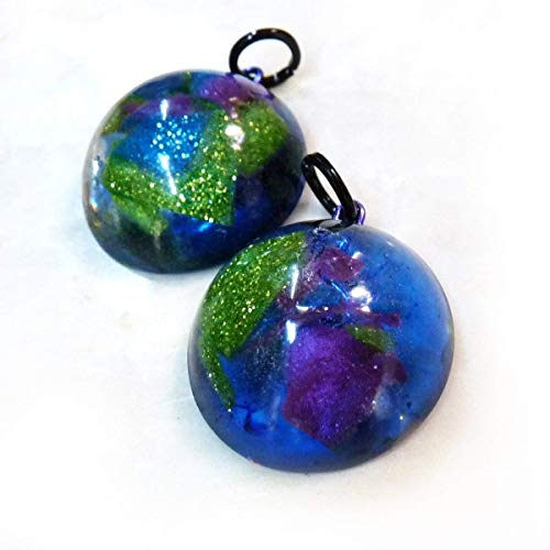 Blue, Green, Purple Abstract Earth Dome Resin Pendant Necklace - Handmade Resin Pendant Necklace - OOAK, Women or Men - Unique Gift for Her, Gift for Him, Teen - Valentine's Day Gift, Birthday Gift